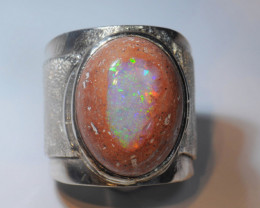 8.5sz Mexican Matrix Cantera  Fire Opal Sterling Silver Ring