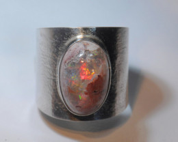 8sz Mexican Matrix Cantera  Fire Opal Sterling Silver Ring