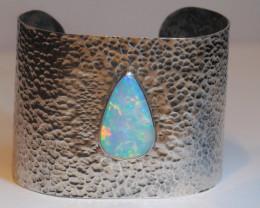 190ct Blazing Welo Solid Opal .925 Bracelet  Harlequin Opal