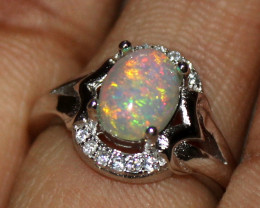 Natural Ethiopian Welo Fire Opal 925 Silver Ring Size ( 5 US) 29