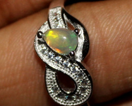 Natural Ethiopian Welo Fire Opal 925 Silver Ring Size ( 6.5 US) 3