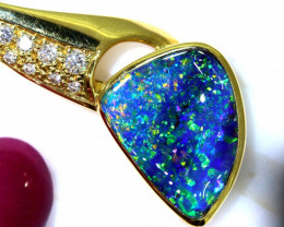 31.30CTS - BEAUTIFUL BOULDER OPAL GOLD PENDANT INV-1192