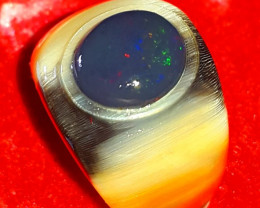7.60 CT UNTREATED Unique Albino Buffalo Ring Horn Indonesian Black Opal