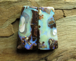 "35cts,""BOULDER MATRIX OPAL~PATTERN PAIR"""