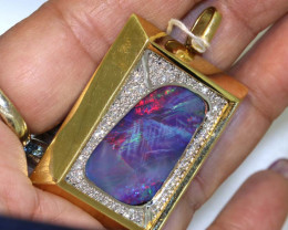 20 CTS - BEAUTIFUL DOUBLET OPAL GOLD PENDANT INV- JE3