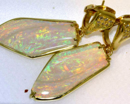 70 CTS YELLOW GOLD OPAL & GEMSTONES EARRING PAIR INV-JE9