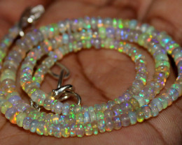 32 Crt Natural Ethiopian Welo Fire Opal Beads Necklace 1198