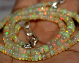 43 Crt Natural Ethiopian Welo Fire Opal Beads Necklace 1100