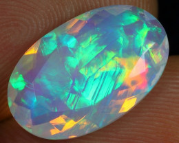 3.60cts Icy Blue Chaff Fire Pattern Natural Ethiopian Welo Faceted Opal