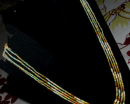 70 Crt Natural Ethiopian Welo Fire Opal 4 Layer Adjustable Necklace