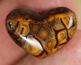 11.4ct Koroit Boulder Opal Heart, Double-sided, Natural Australian Solid Op