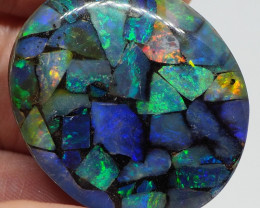 70.20CTS KORIOT MOSIAC OPAL CHIPS IN GLASS WITH BOULDER BACKING RE476