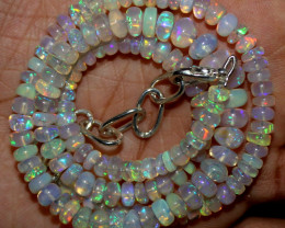 64 Crts Natural Ethiopian Welo Fire Opal Beads Necklace 1214