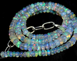 68 Crts Natural Ethiopian Welo Fire Opal Beads Necklace 1213