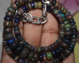 86 Crt Natural Ethiopian Welo Fire Smoked Opal Beads Necklace 34