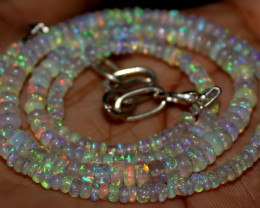 41 Crts Natural Ethiopian Welo Fire Opal Beads Necklace 1238