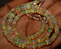64 Crts Natural Ethiopian Welo Fire Opal Beads Necklace 1252