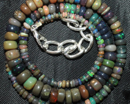 52 Crt Natural Ethiopian Welo Fire Smoked Opal Beads Necklace 10