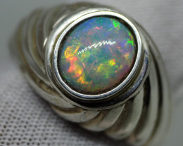 48.55CT SILVER OPAL RING WITH LIGHTNING RIDGE OPAL RE502