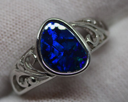 31.30CT SILVER OPAL RING WITH LIGHTNING RIDGE DOUBLET RE503