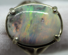 21.25CT SILVER OPAL RING WITH LIGHTNING RIDGE OPAL RE504