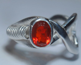 Sz7 SOLID CHERRY OPAL STERLING SILVER RING