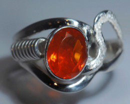Sz7 SOLID ORANGE OPAL STERLING SILVER RING