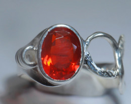 Sz8.5 SOLID CHERRY OPAL STERLING SILVER RING