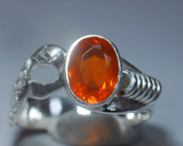Sz9 SOLID MANDARINE OPAL STERLING SILVER RING