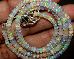 39 Crt Natural Ethiopian Welo Fire Opal Beads Necklace 1149