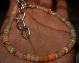 32 Crts Natural Ethiopian Welo Fire Opal Beads Bracelet 89
