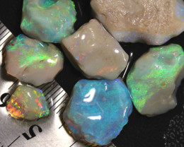50.35cts Australian Soild  Rough Opal Lightning Ridge Parcel 7pcs