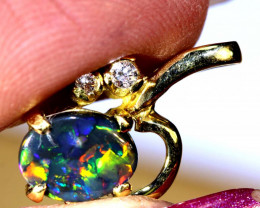 9.75 CTS  BLACK OPAL GOLD PENDANT OF-2537