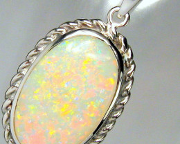 Opal Pendant Solid Natural Australian Vintage Style Halo Authentic Gem Gift