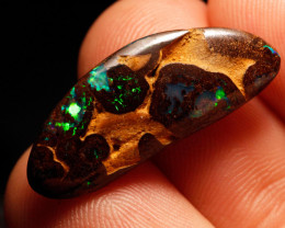 Bright Green 14.4ct Boulder Matrix Opal, Natural Australian Solid Opal, Rea