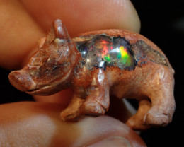 24ct Mexican Matrix Opal Pig Figurine