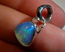 Blue Blazing Freeform  Welo Solid Opal .925 Sterling Silver Pendant
