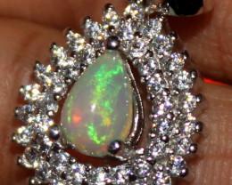 Natural Ethiopian Fire Opal 925 Silver Pendant 269