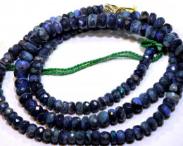50.65 CTS BLACK OPAL FACETED BEADS STRAND TBO-8883