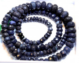 69.25 CTS BLACK OPAL FACETED BEADS STRAND TBO-8896