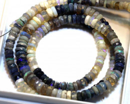 54.40 CTS BLACK OPAL FACETED BEADS STRAND TBO-8899