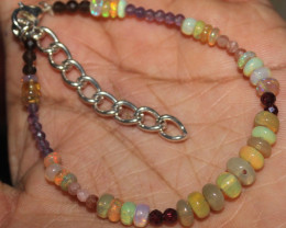 21 Crt Natural Welo Opal Garnet Sunstone Amethyst Smokey Bracelet 127