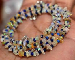 22 Crt Natural Ethiopian Welo Fire Uncut Opal & Lapis Lazuli Necklace