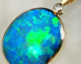 Australian Opal & Diamond Pendant Necklace Gift 17.5ct Quality Gem 14k