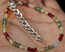 17 Crts Natural Welo Opal Garnet & Apatite Beads Bracelet 156
