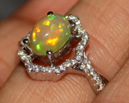 Natural Ethiopian Fire Opal 925 Silver Ring Size US (8) 284