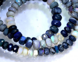 105 CTS BLACK OPAL FACETED BEADS STRAND TBO-8987
