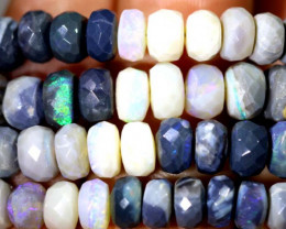107.45 CTS BLACK OPAL FACETED BEADS STRAND TBO-8989