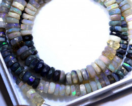 54.40 CTS BLACK OPAL FACETED BEADS STRAND TBO-8992