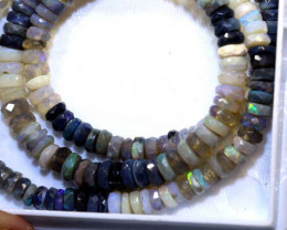 54 CTS BLACK OPAL FACETED BEADS STRAND TBO-8993